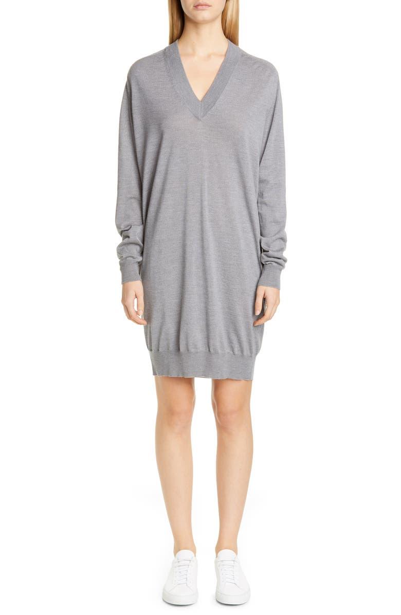 MAISON MARGIELA Long Sleeve Wool Sweater Dress, Main, color, GREY MELANGE