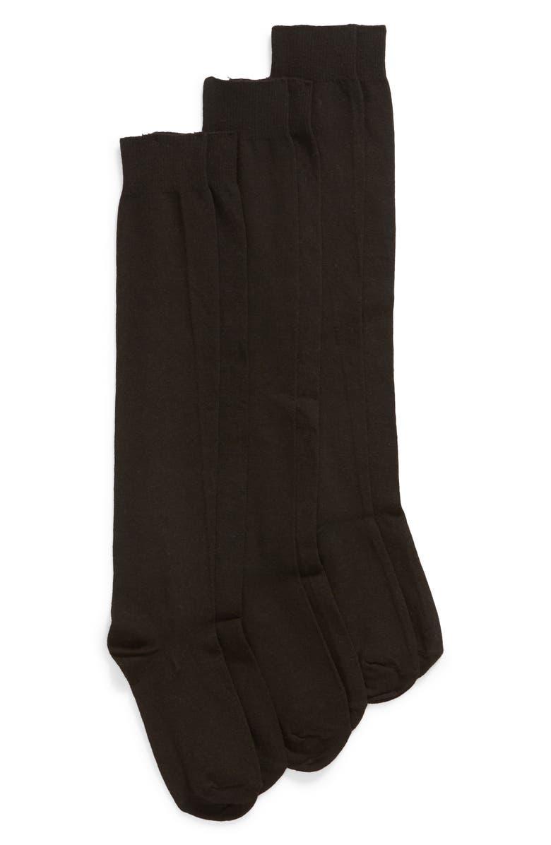 HUE 3-Pack Flat Knit Knee High Socks, Main, color, BLACK