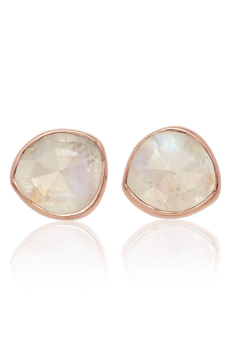 MONICA VINADER 'Siren' Semiprecious Stone Stud Earrings, Main, color, MOONSTONE/ ROSE GOLD