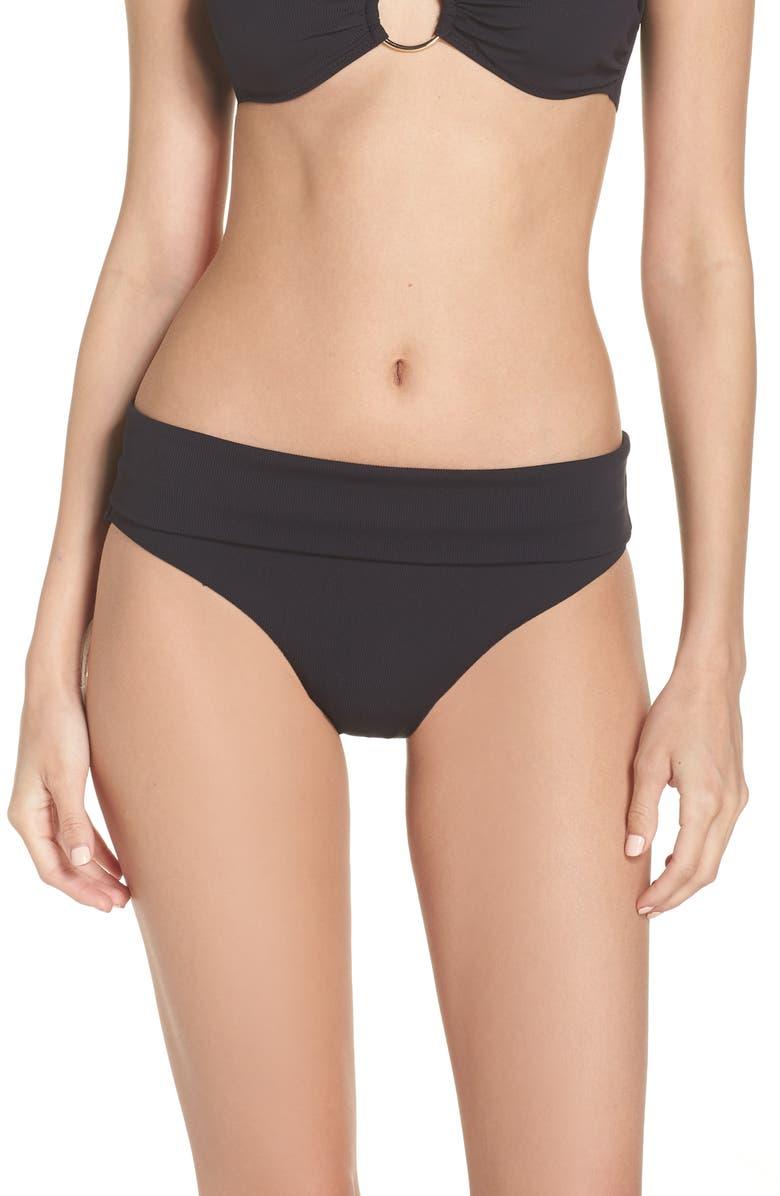 MELISSA ODABASH Brussels Bikini Bottoms, Main, color, BLACK RIBBED