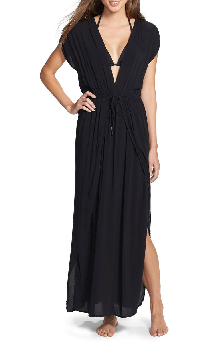 ELAN Deep V-Neck Cover-Up Maxi Dress, Main, color, BLACK