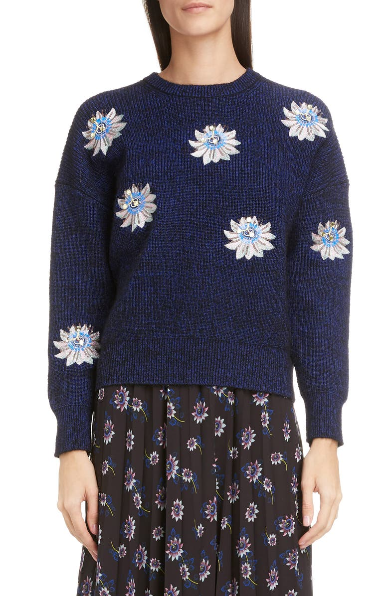 8c47d0f6e2 KENZO Sequin Passion Flower Ribbed Sweater   Nordstrom