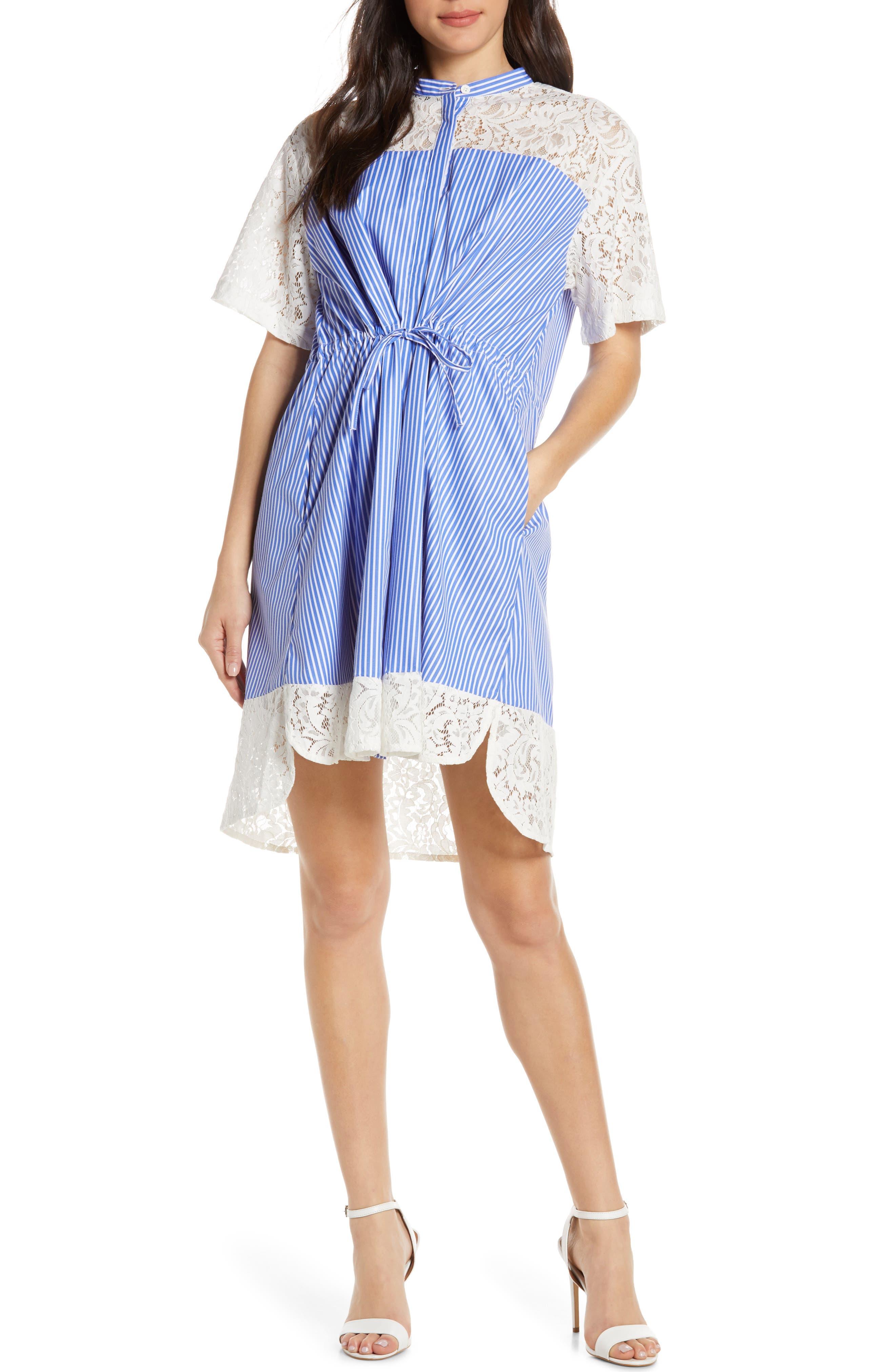 French Connection Adena Mix Tie Waist Dress, Blue