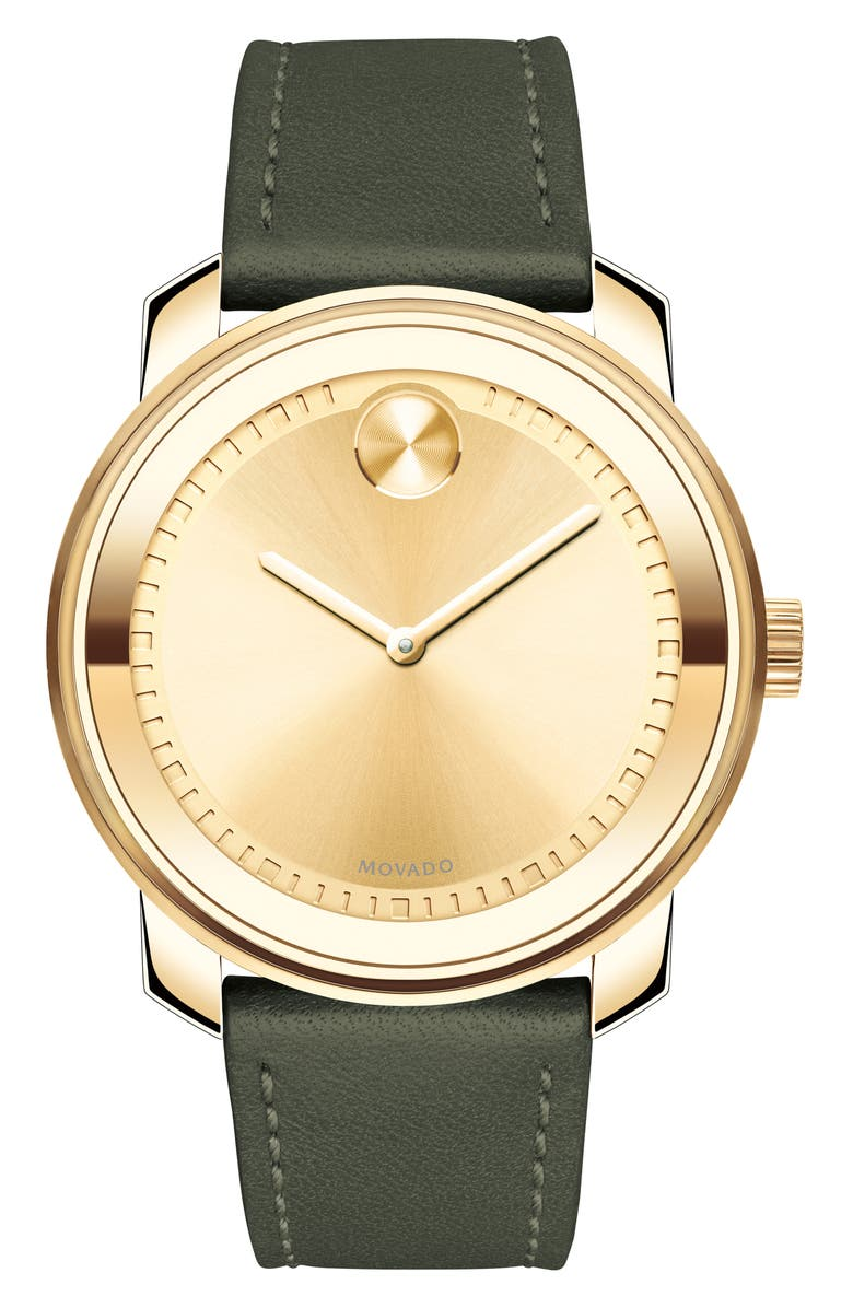 MOVADO Bold Leather Strap Watch, 42.5mm, Main, color, GREEN/ GOLD