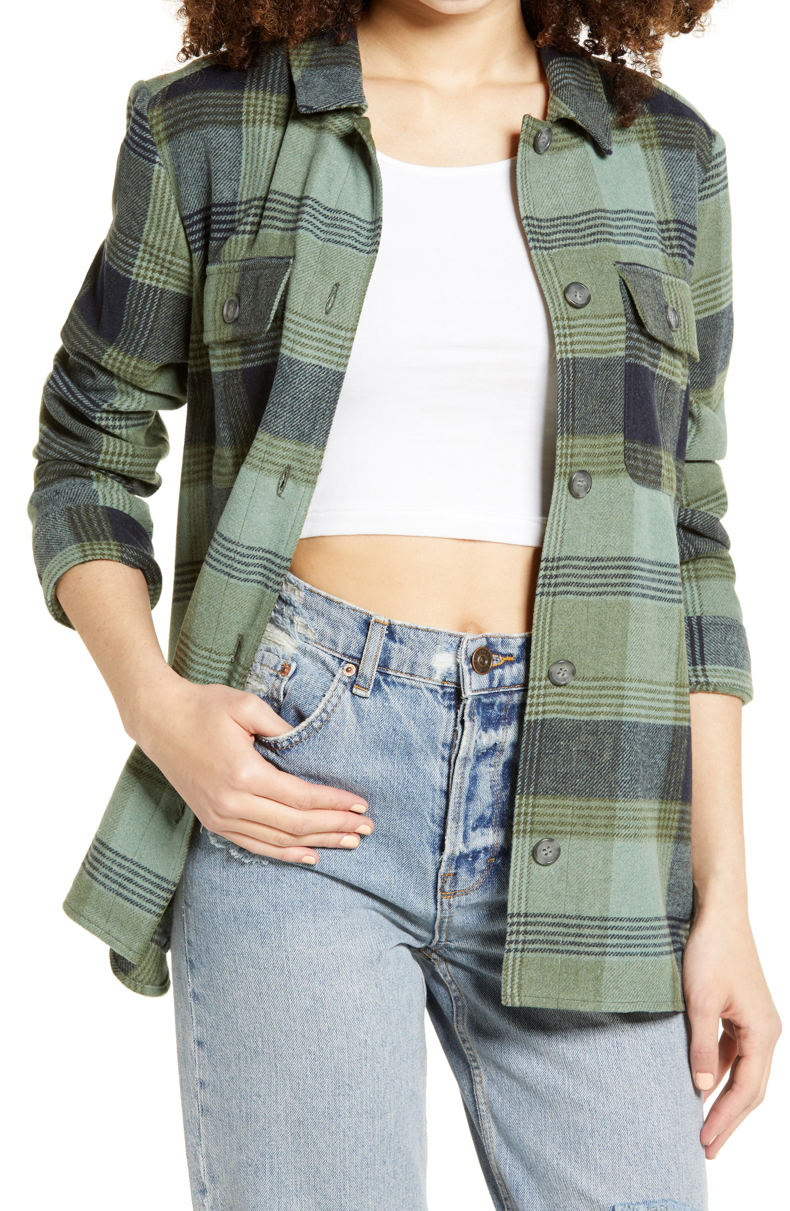 Vintage Tops & Retro Shirts, Halter Tops, Blouses Womens Bp. Plaid Flannel Shirt Jacket Size X-Small - Green $69.00 AT vintagedancer.com