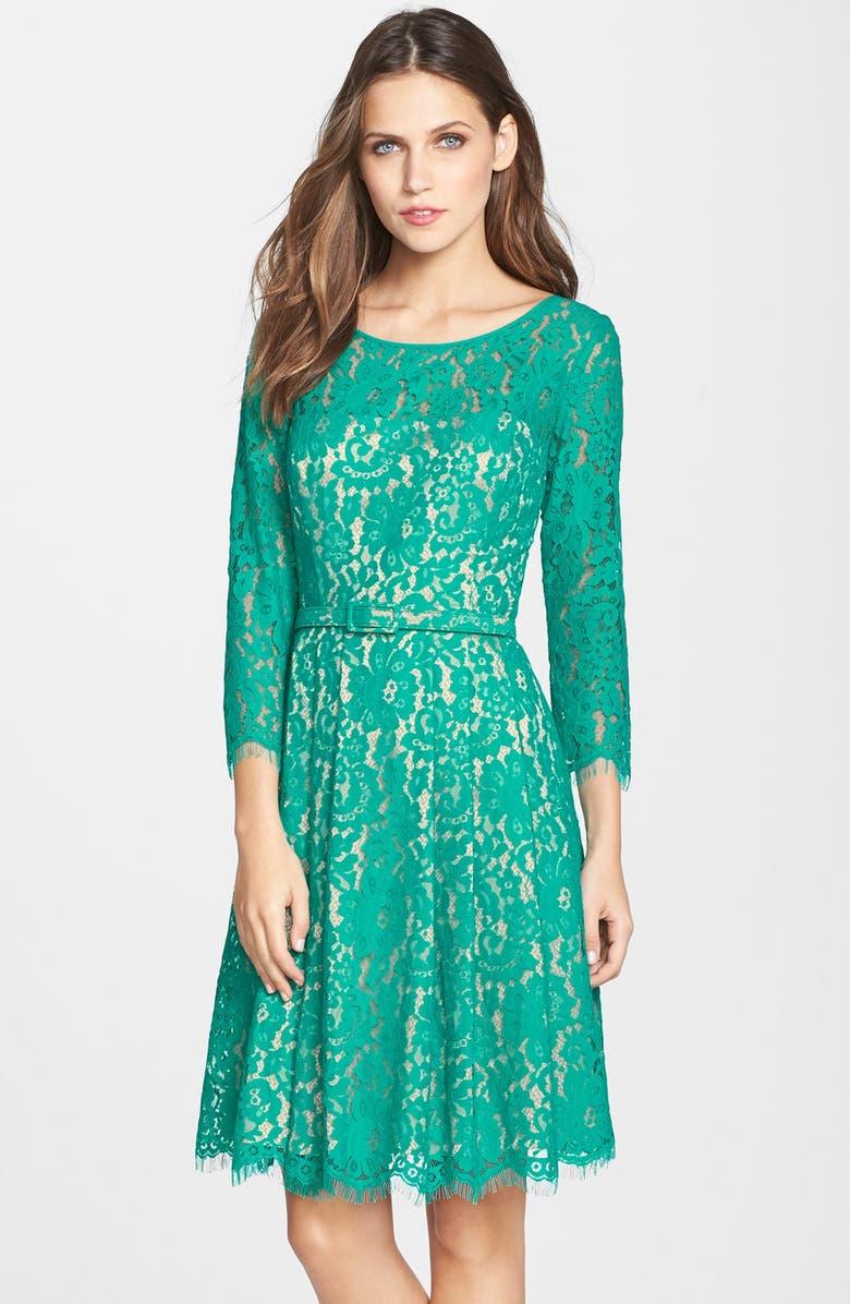 ELIZA J Belted Lace Fit & Flare Dress, Main, color, 310