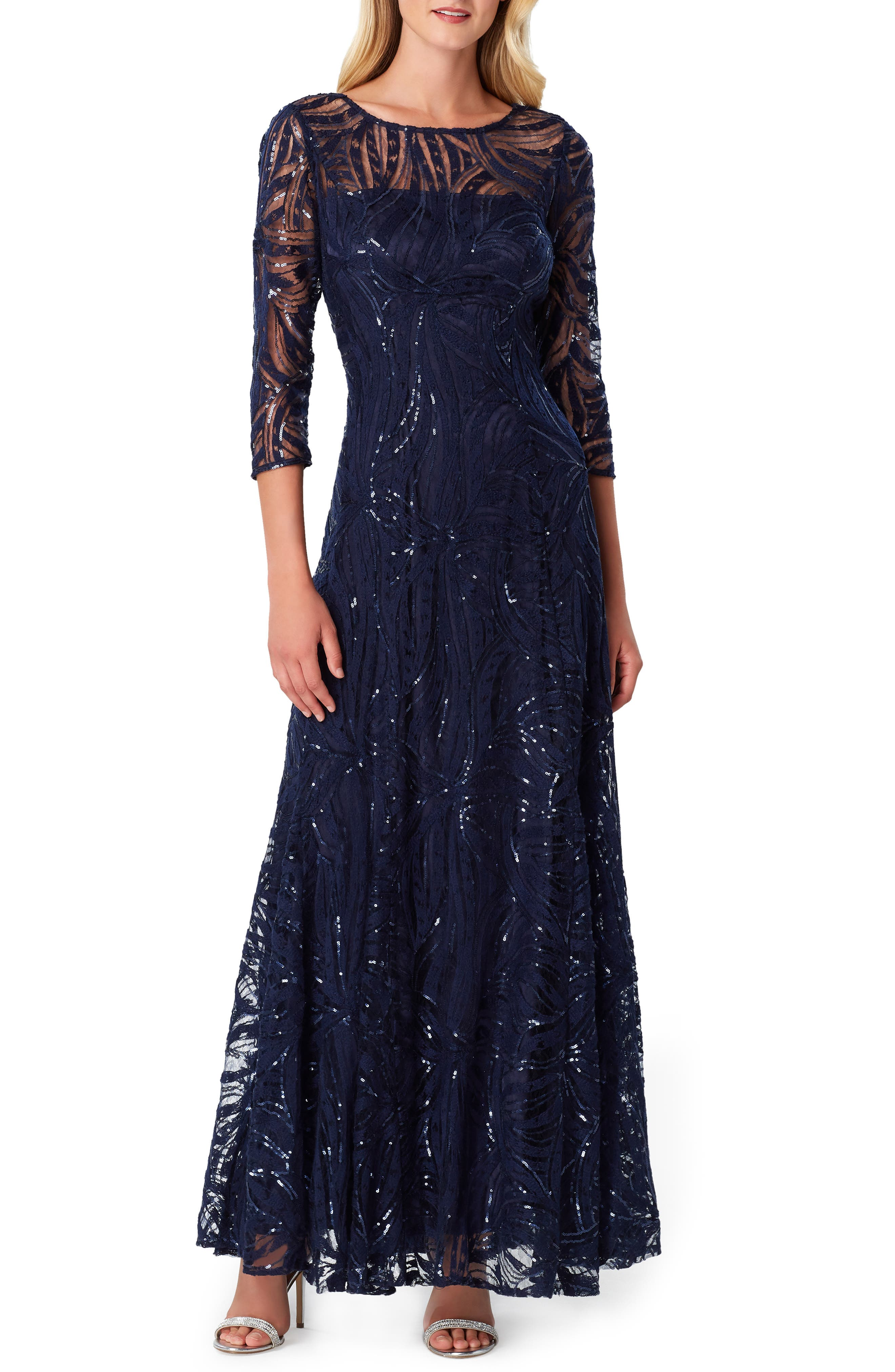 Tahari Sequin Embroidered A-Line Gown, Blue