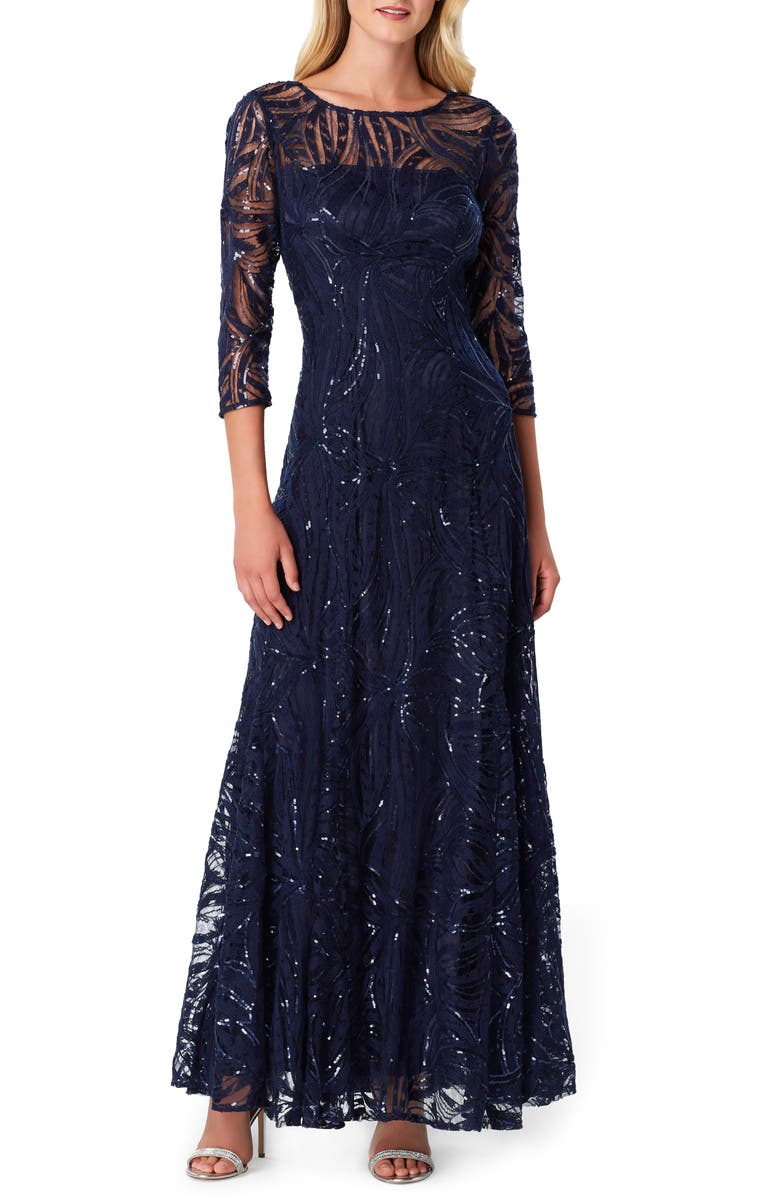 TAHARI Sequin Embroidered A-Line Gown, Main, color, NAVY