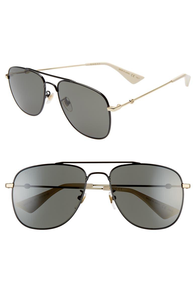 GUCCI 57mm Aviator Sunglasses, Main, color, SHINY BLACK/GREY