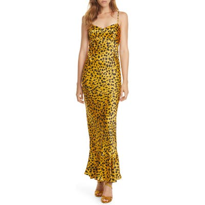 Saloni Mimi Leopard Silk Satin Maxi Dress, Black