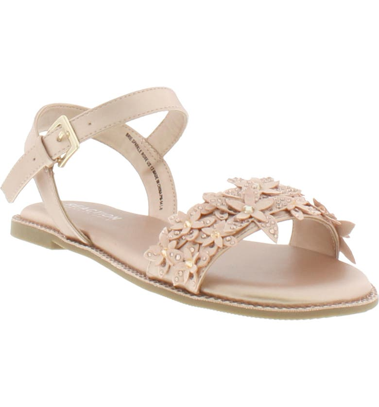 KENNETH COLE REACTION Reaction Kenneth Cole Brie Crystal Flower Sandal, Main, color, ROSE