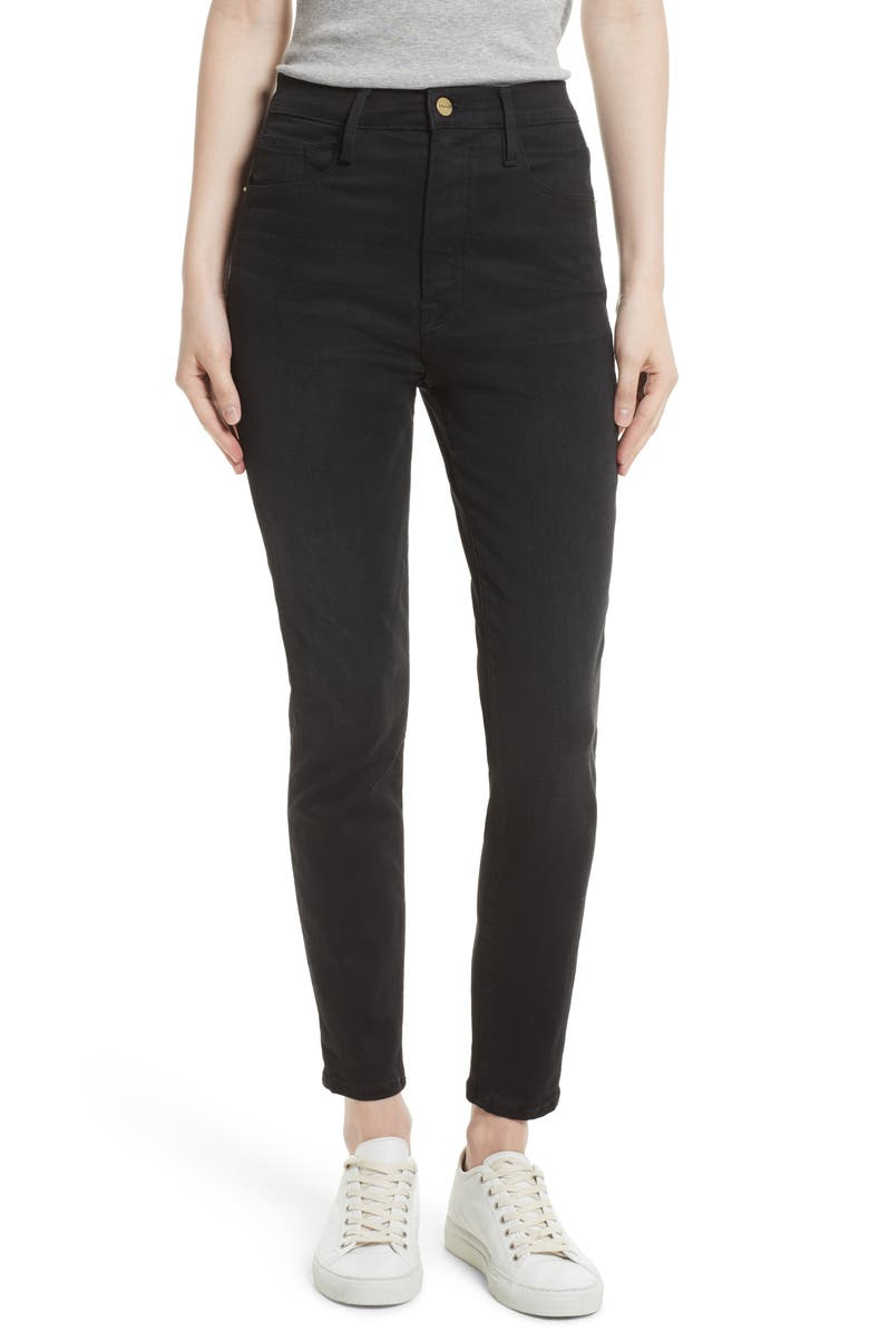 FRAME High Waist Skinny Jeans, Main, color, NOIR