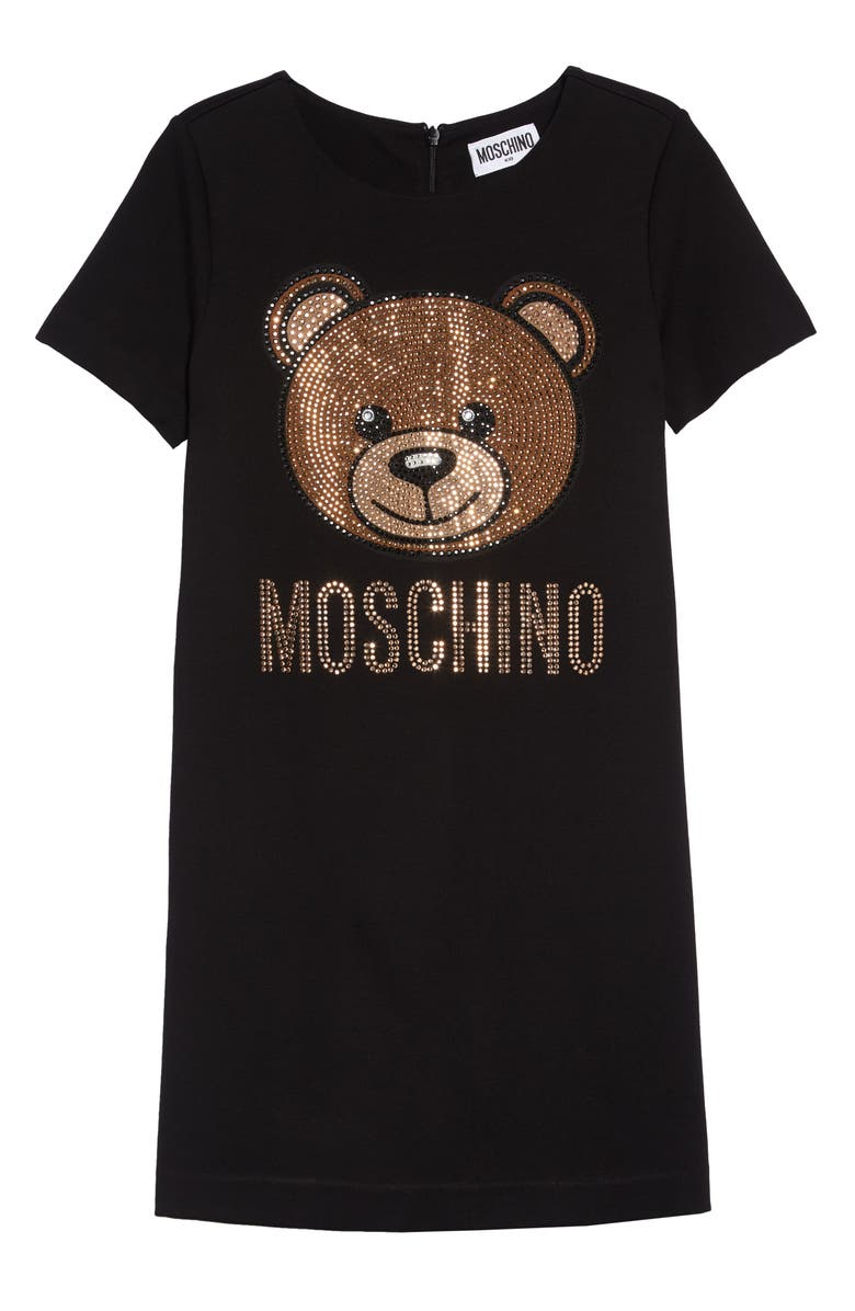 MOSCHINO Sparkle Toy Bear Dress, Main, color, BLACK