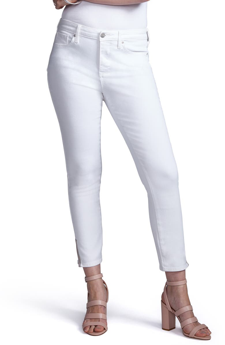 CURVES 360 BY NYDJ Slit Detail Skinny Ankle Jeans, Main, color, OPTIC WHITE