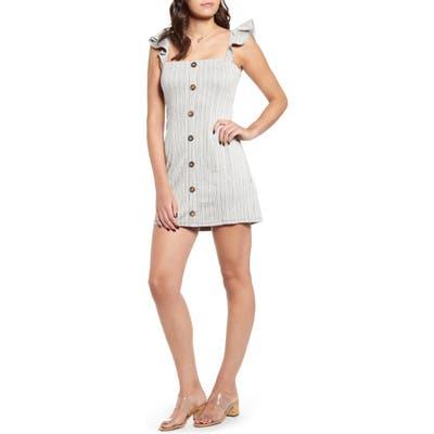 Minkpink Button Stripe Minidress, White