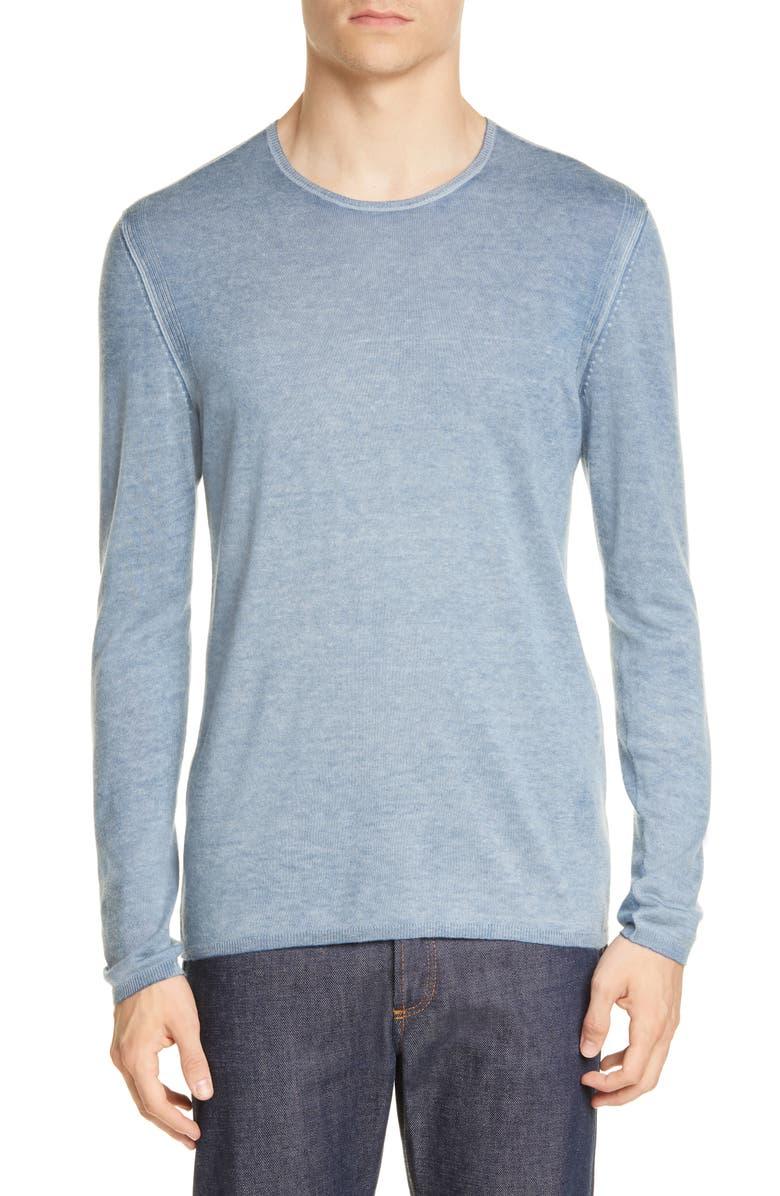 JOHN VARVATOS Silk & Cashmere Crewneck Sweater, Main, color, DUTCH BLUE