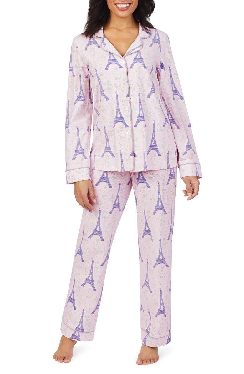 BEDHEAD PAJAMAS BedHead Print Knit Pajamas, Main, color, COLETTE'S EIFFEL