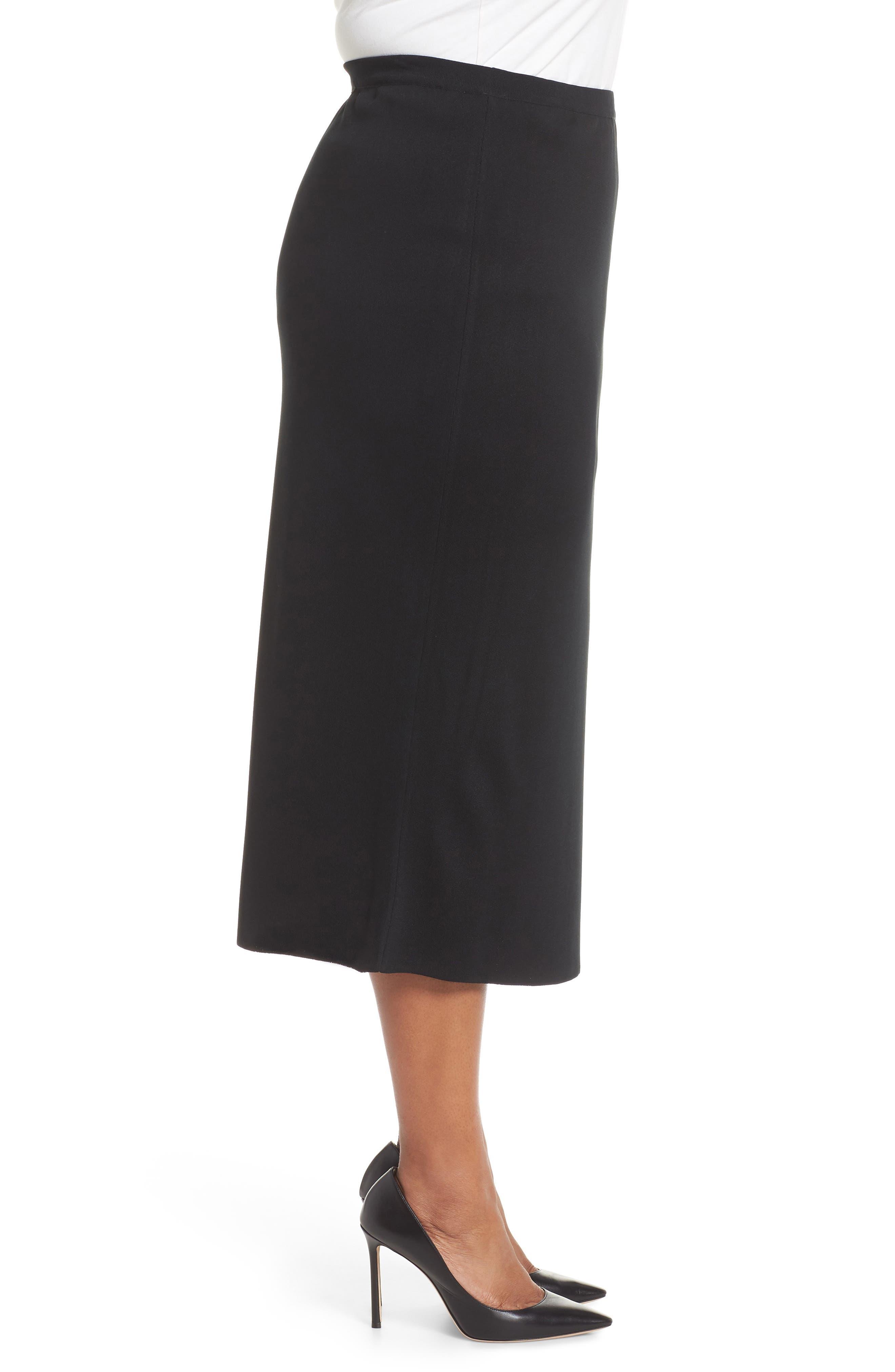 ,                             Knit Midi Skirt,                             Alternate thumbnail 3, color,                             BLACK