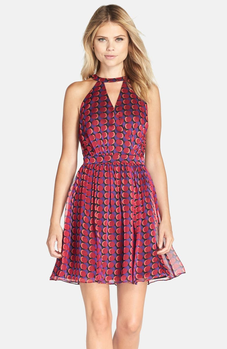 ADELYN RAE AdelynRae Cage Back Chiffon Fit & Flare Dress, Main, color, 651