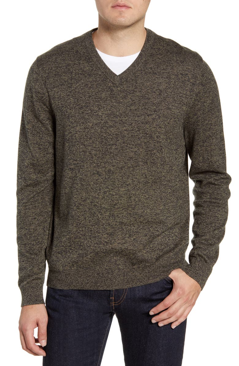 NORDSTROM MEN'S SHOP Cotton & Cashmere V-Neck Sweater, Main, color, GREEN FOREST MARL
