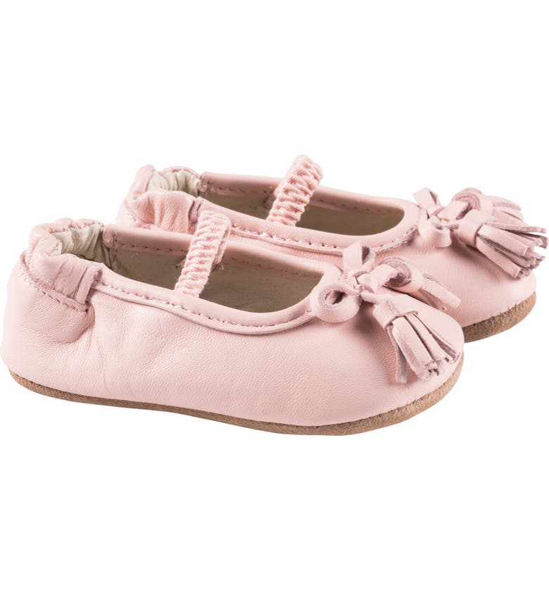 ROBEEZ<SUP>®</SUP> Emily Bow Tassel Mary Jane Crib Shoe, Main, color, PINK