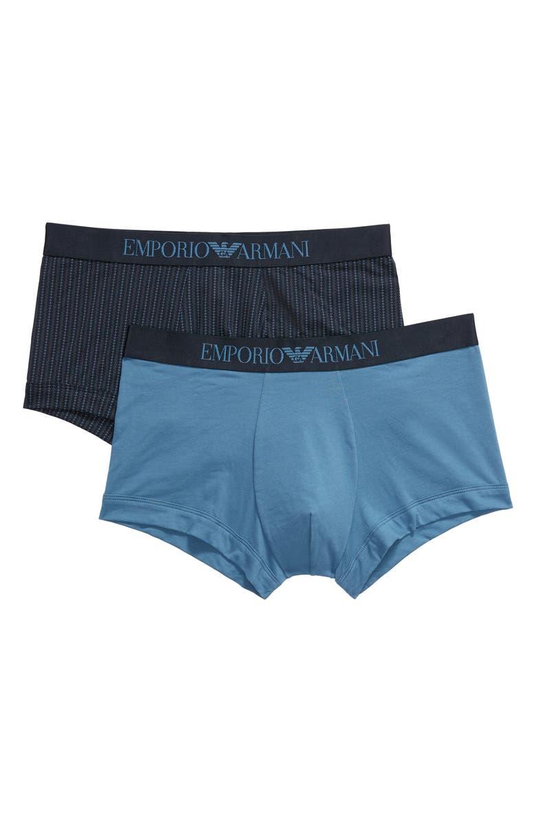 EMPORIO ARMANI 2-Pack Cotton Briefs, Main, color, FANCY BLUE