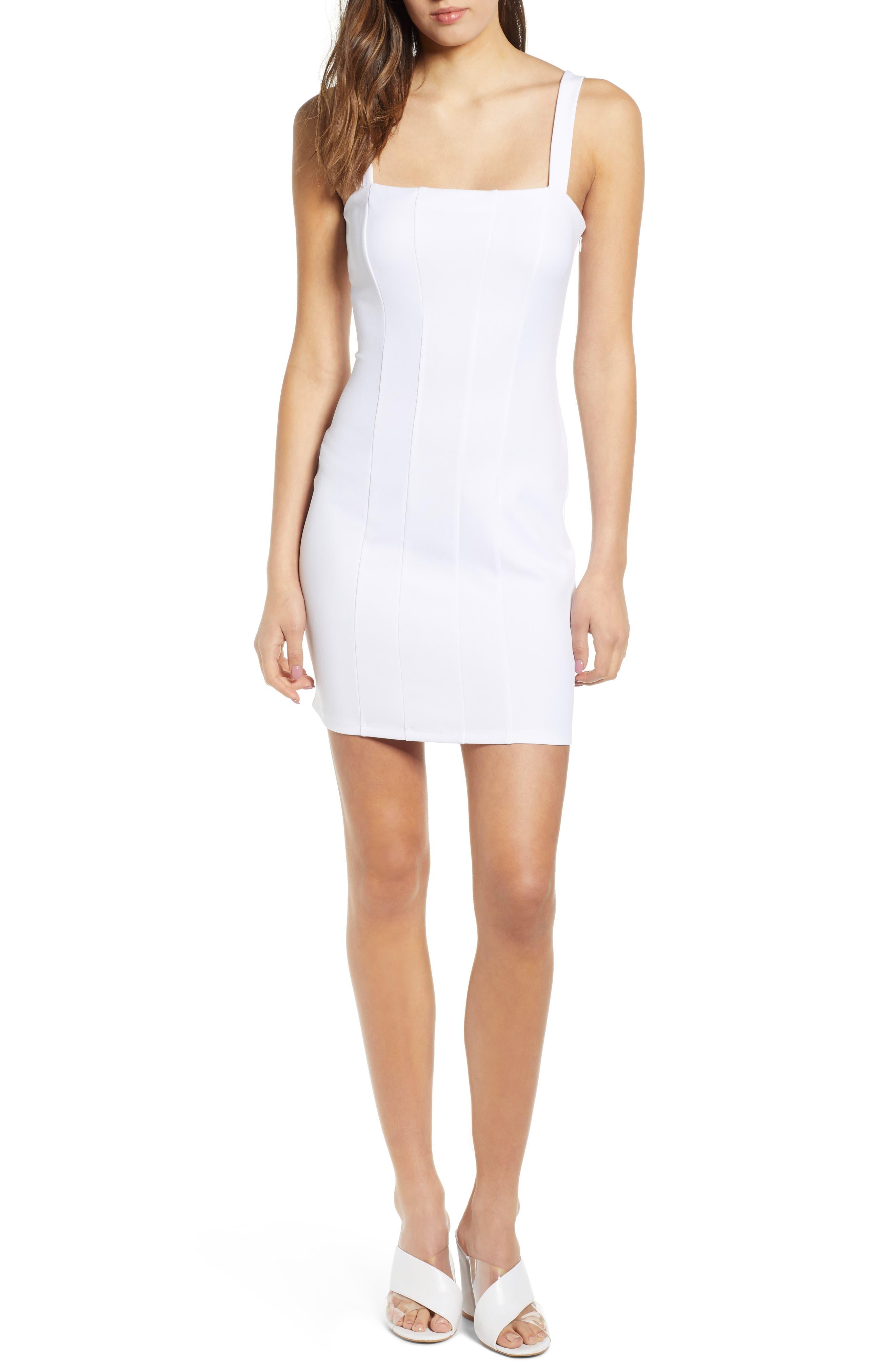 Leith Seamed Body-Con Dress, White
