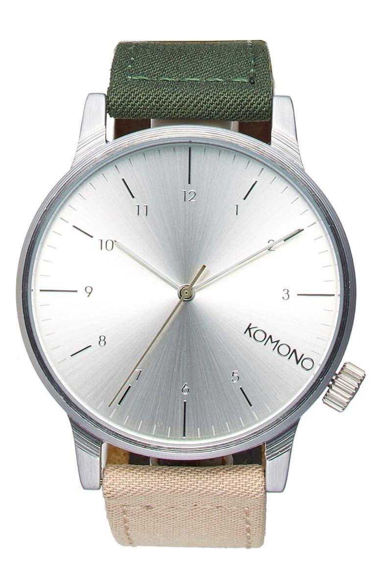 KOMONO 'Winston Heritage' Multitoned Canvas Strap Watch, 41mm, Main, color, GREEN/ BEIGE/ SILVER