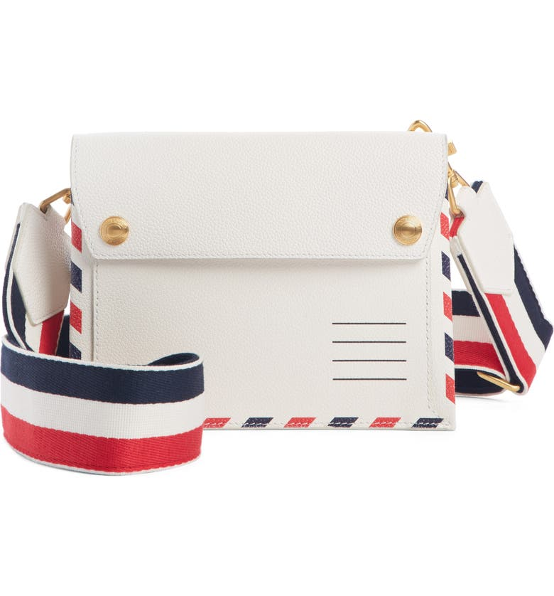 THOM BROWNE Pebbled Leather Envelope Crossbody Bag, Main, color, 100