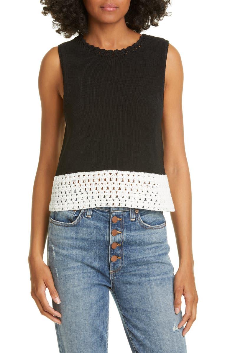 ALICE + OLIVIA Rosaline Sleeveless Sweater, Main, color, BLACK/ WHITE
