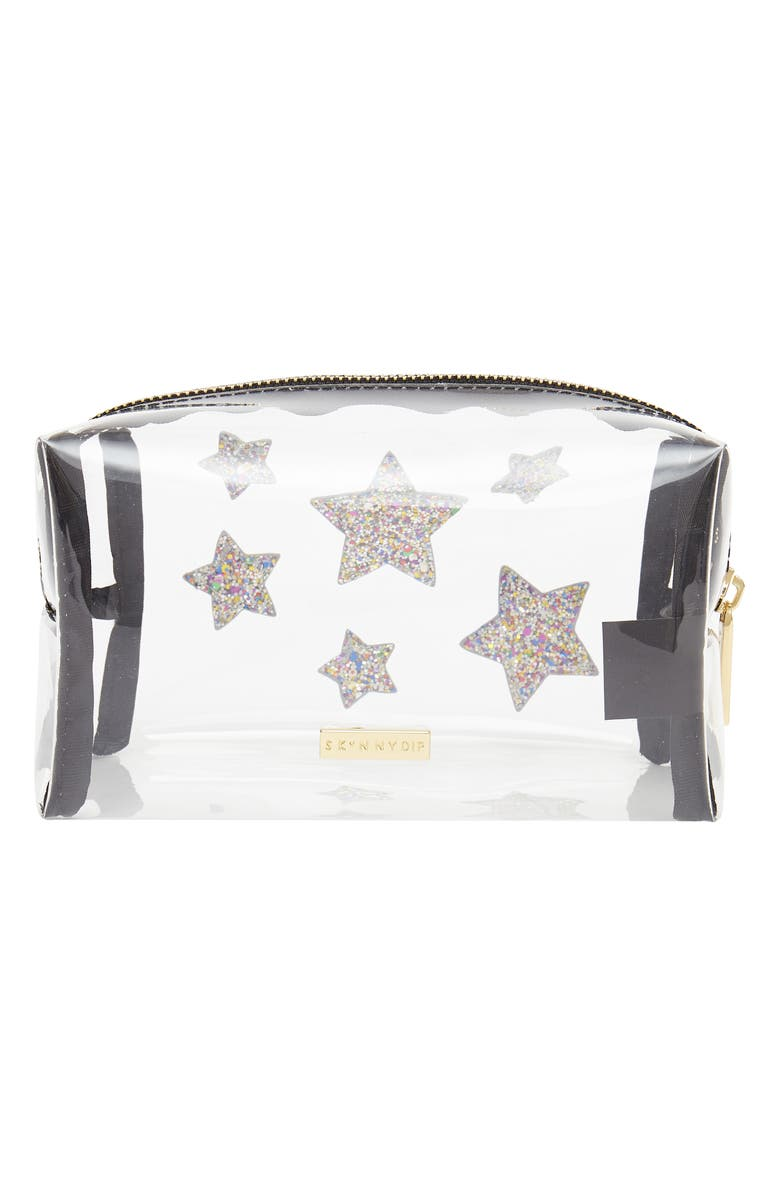 SKINNYDIP Stars Clear Makeup Bag, Main, color, NO COLOR
