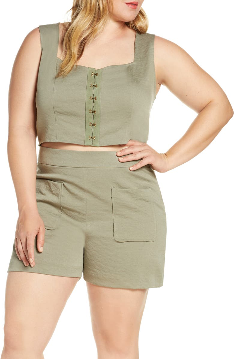 LEITH Hook-and-Eye Corset Top, Main, color, GREEN VETIVER