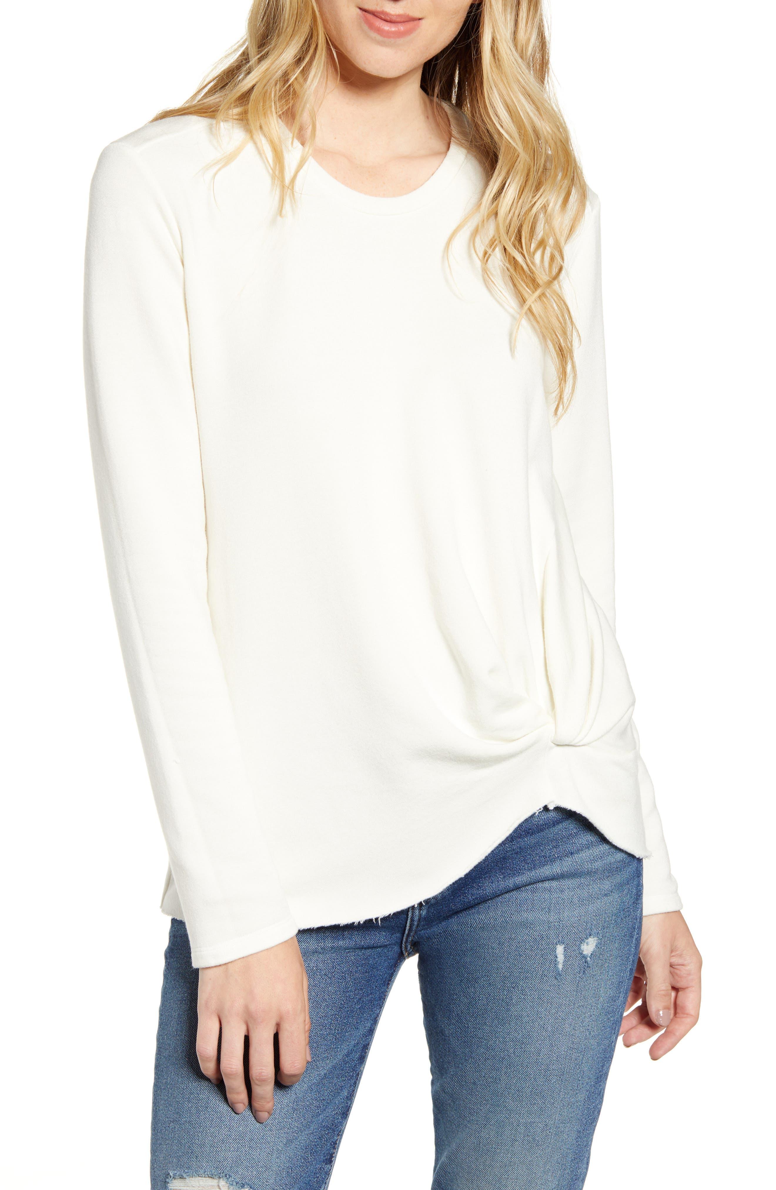Stateside Twist Front Fleece Sweatshirt, Pink