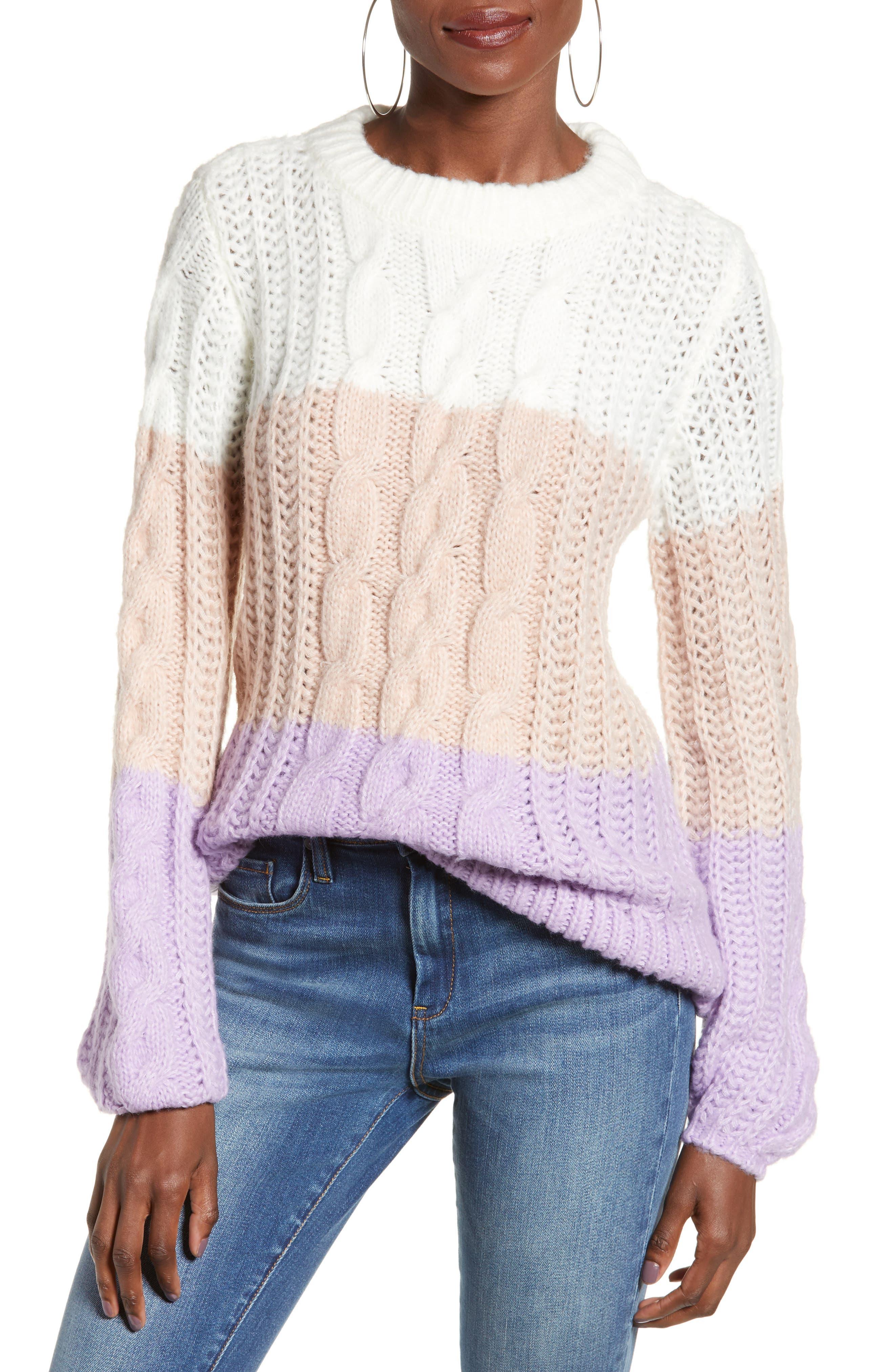Vero Moda Becca Colorblock Chunky Cable Sweater, Pink