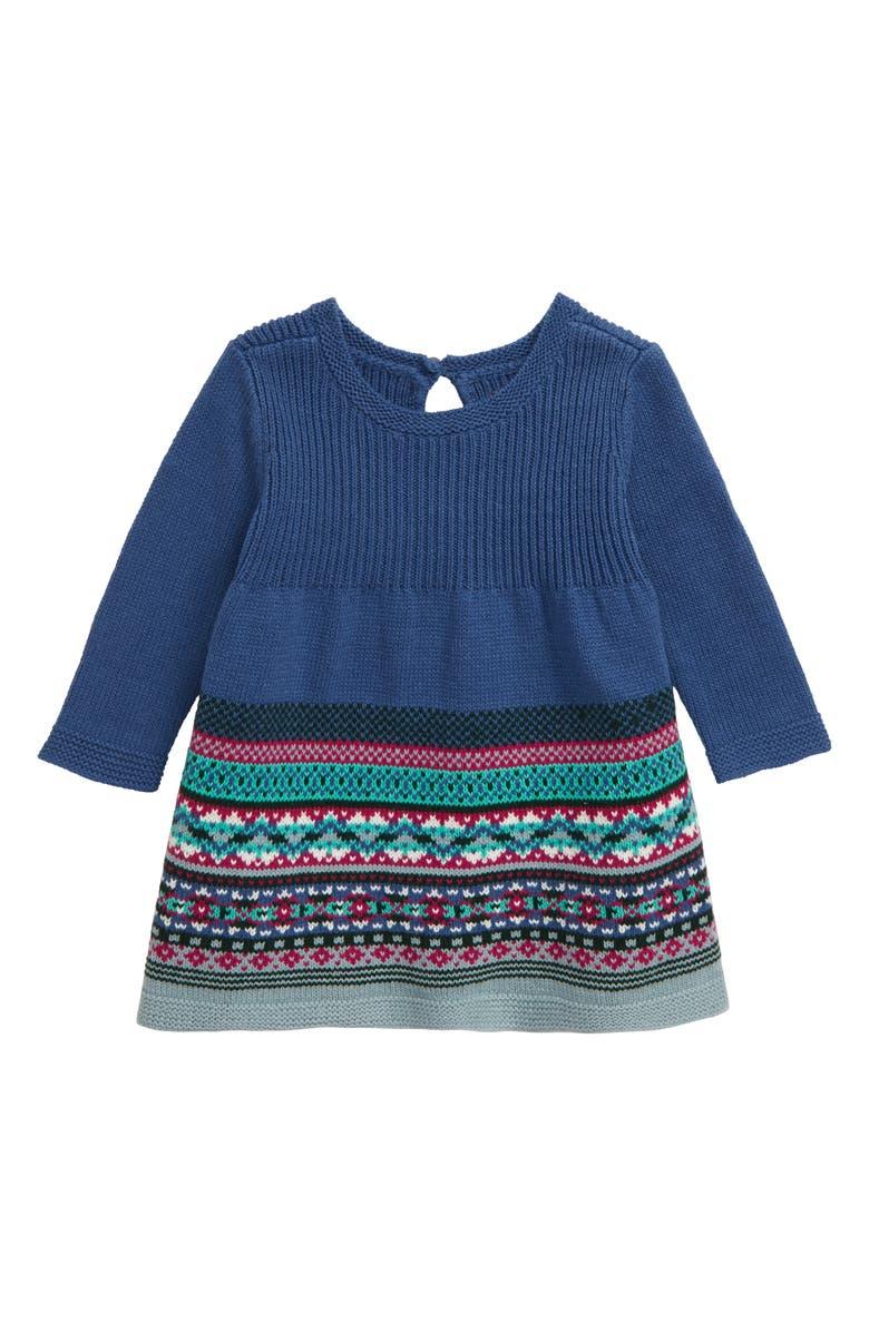 TEA COLLECTION Fair Isle Sweater Dress, Main, color, COBALT