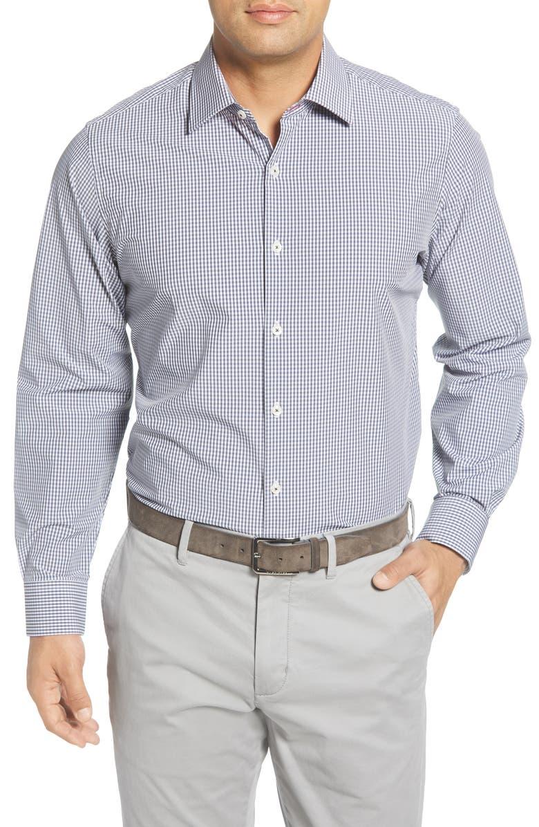 MOVE PERFORMANCE APPAREL Trim Fit Check Button-Up Shirt, Main, color, BLACK