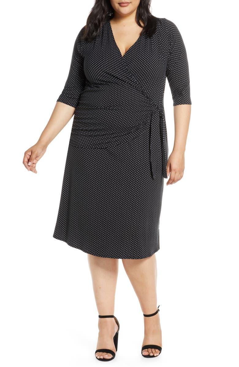 LOVEAPPELLA Loveapella Midi Wrap Dress, Main, color, BLACK/ IVORY