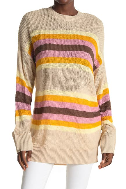 Image of ALL IN FAVOR Striped Dolman Sleeve Tunic Sweater