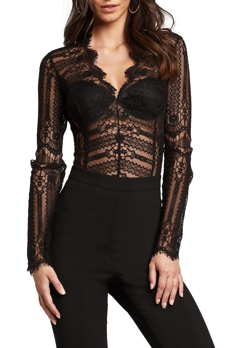 BARDOT Annika Long Sleeve Lace Bodysuit, Main, color, 001
