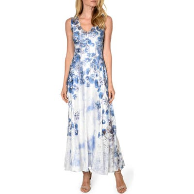 Komarov Lace-Up Maxi Dress, Blue