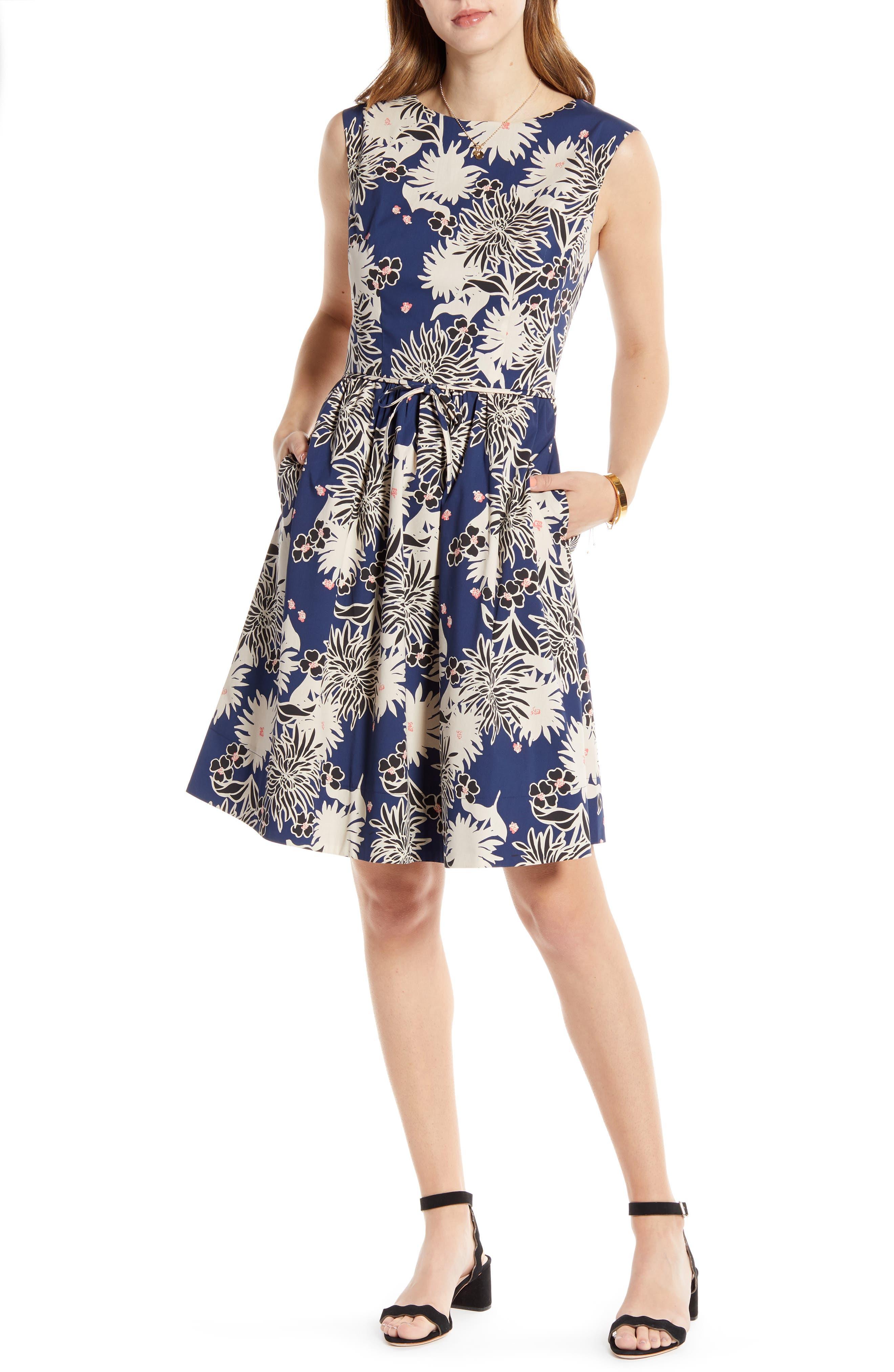 Petite 1901 Floral Sleeveless Cotton Blend Poplin Dress, Blue