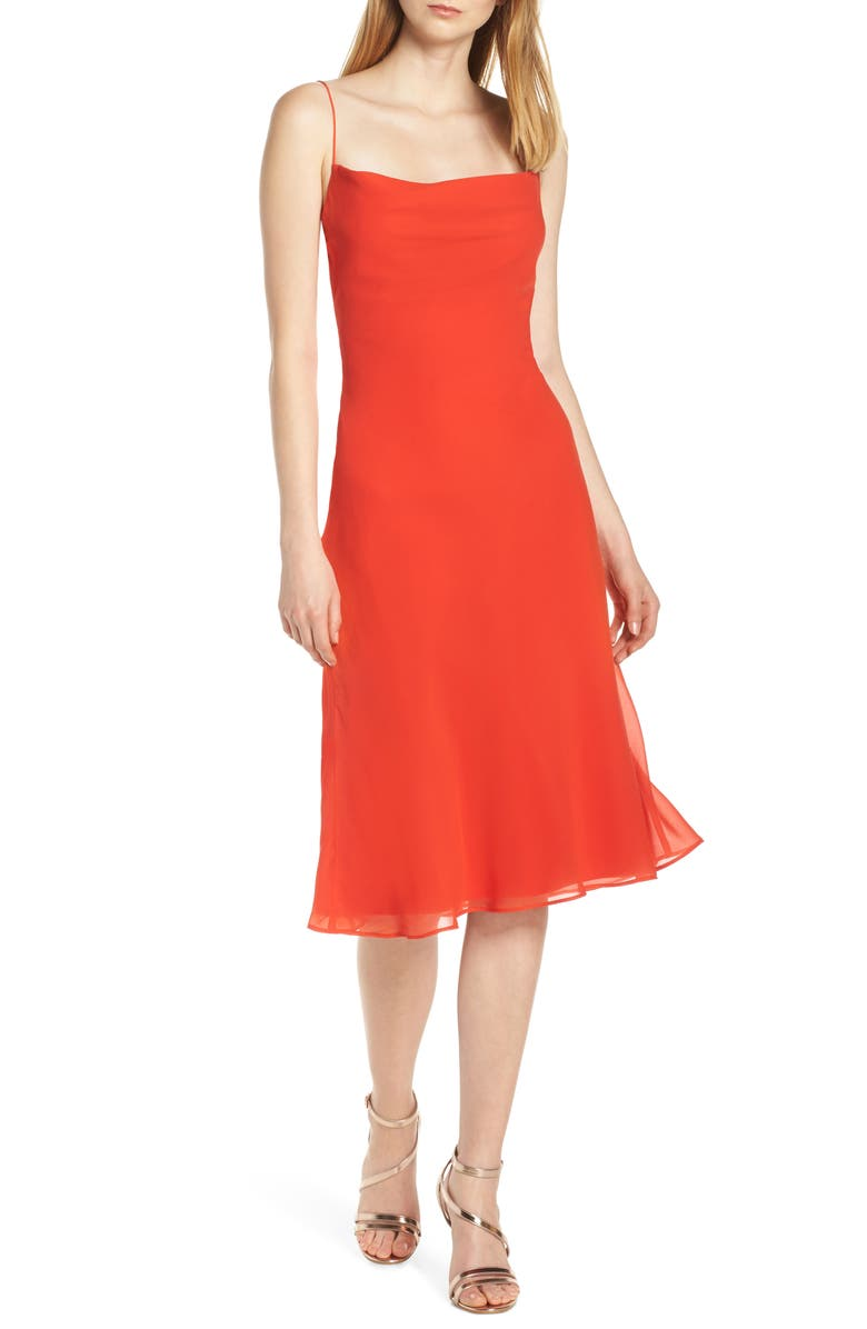 FINDERS KEEPERS Nostalgia Back Cutout Slipdress, Main, color, RED