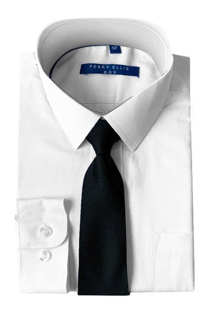 Image of Perry Ellis Solid Dress Shirt & Diagonal Tie Set