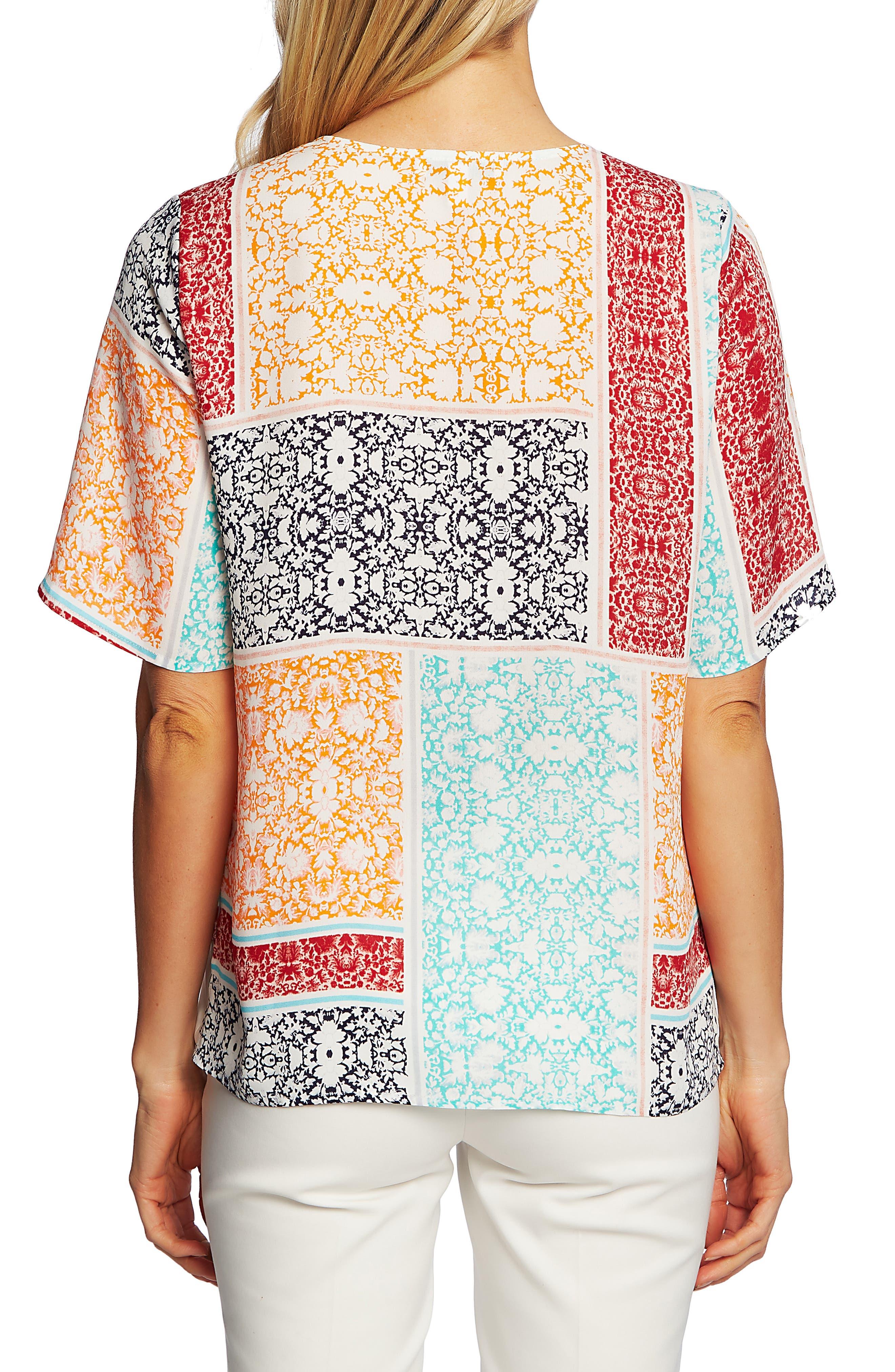 ,                             Patchwork Floral Print Tie Front Blouse,                             Alternate thumbnail 2, color,                             EVENING NAVY
