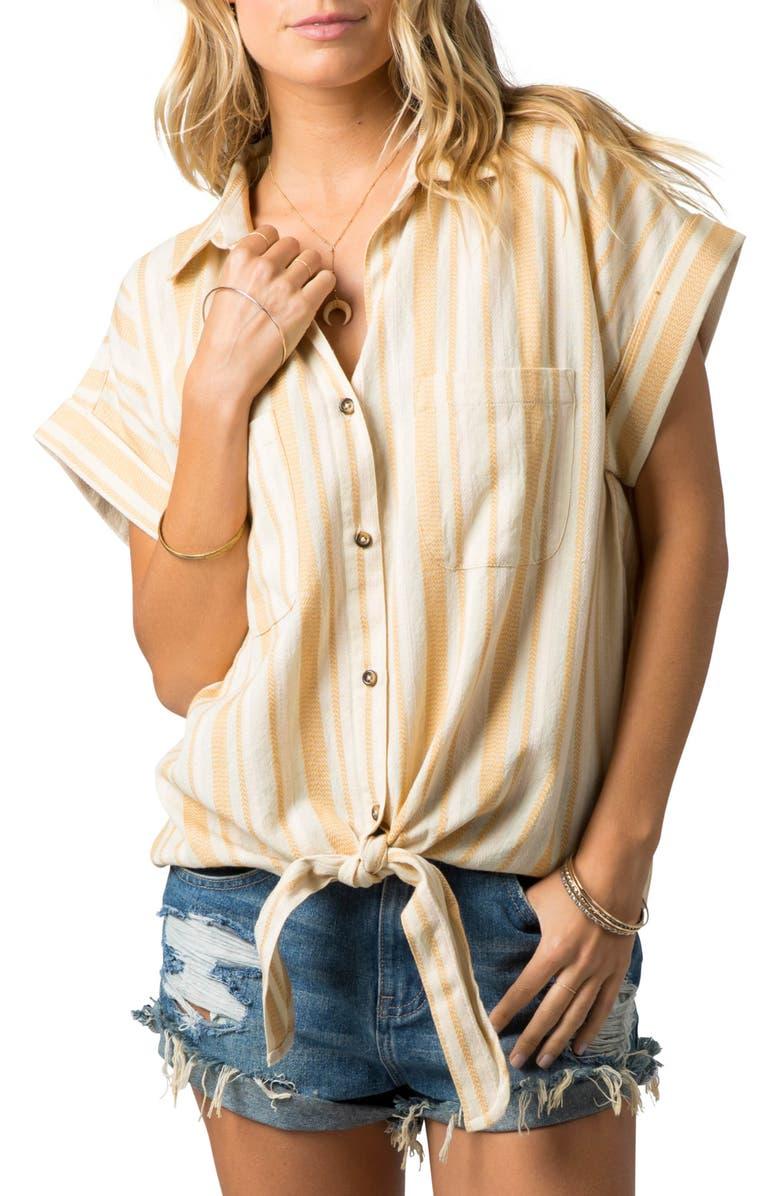 RIP CURL Island Time Tie Hem Shirt, Main, color, PINK