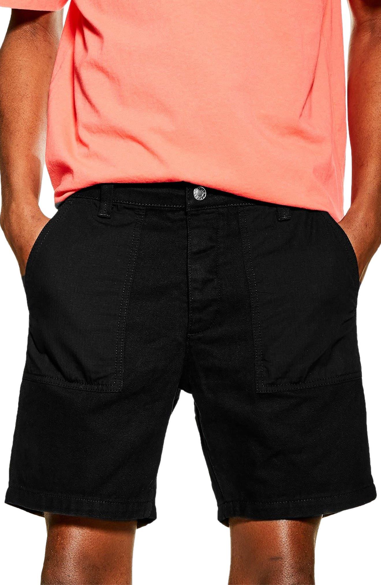 Slim Fit Utility Shorts, Main, color, BLACK
