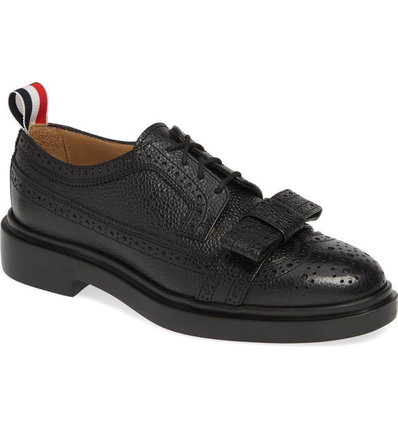 THOM BROWNE Bow Brogued Oxford, Main, color, BLACK
