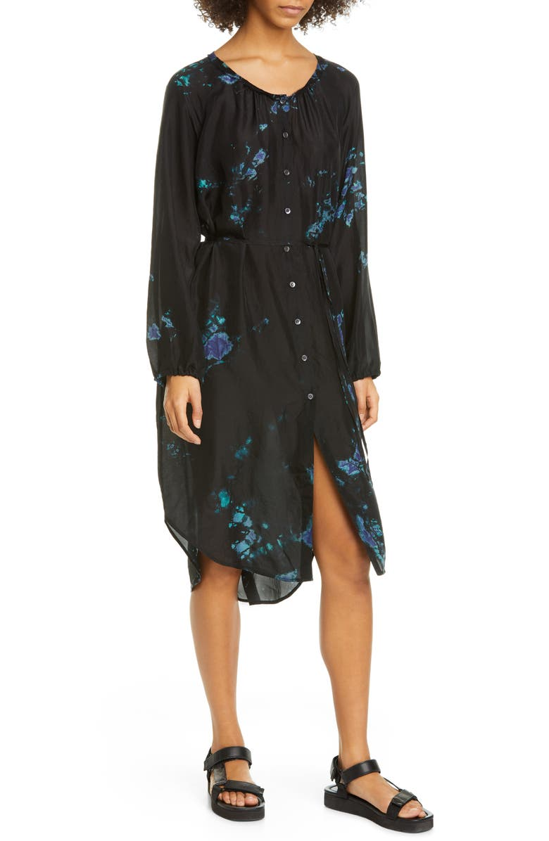 RAQUEL ALLEGRA Poet Dye Pattern Long Sleeve Silk Dress, Main, color, BLACK SKY TIE DYE