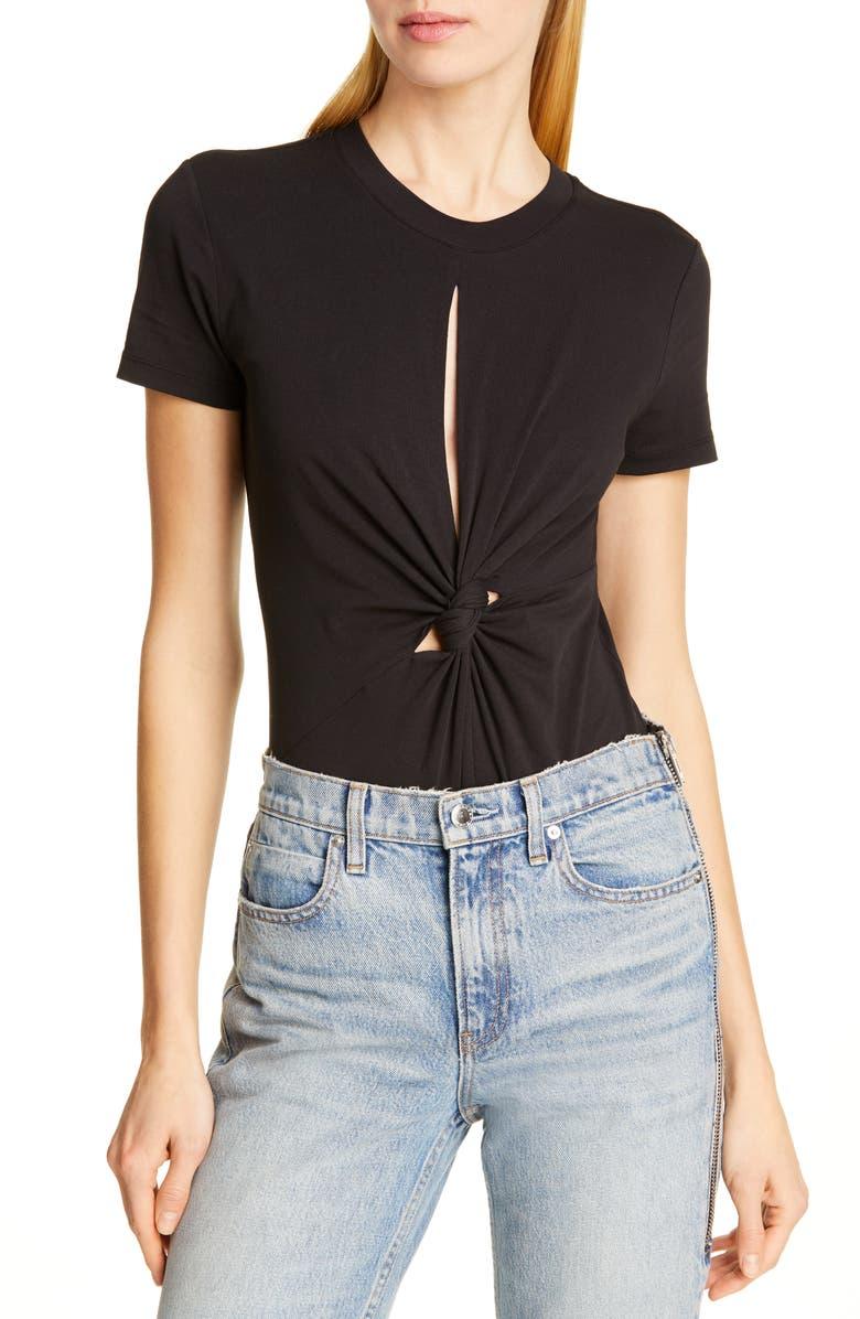 ALEXANDERWANG.T Keyhole Twist Compact Jersey Bodysuit, Main, color, BLACK