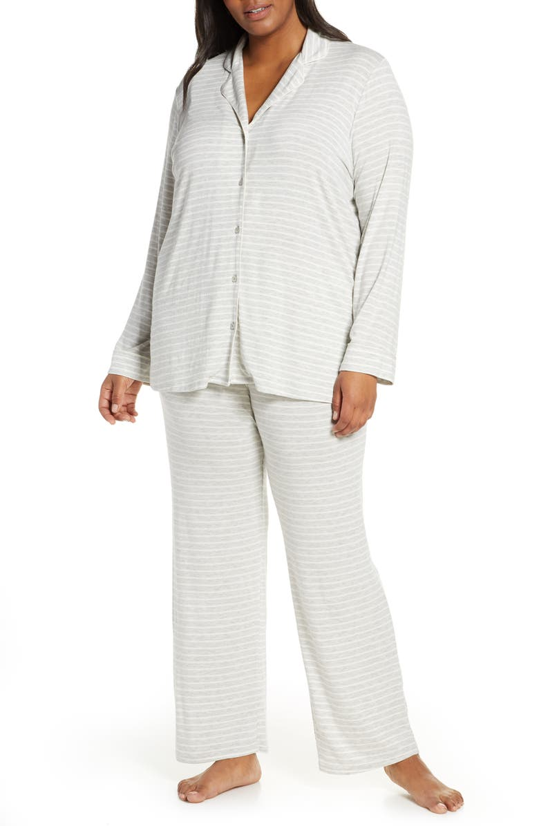 NORDSTROM LINGERIE Moonlight Pajamas, Main, color, GREY PEARL HEATHER STRIPE